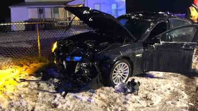 A car and a plow truck collided in East Windsor on Wednesday night (East Windsor Police)