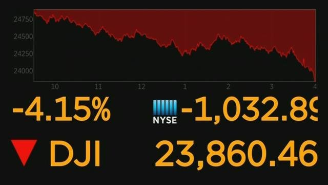 The Dow closed plunging down more than 1,000 points on Thursday (CNN Newsource)