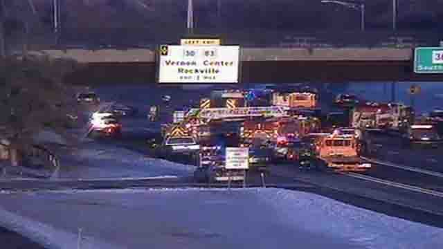Mutli-vehicle crash caused delays on I-84 in Manchester. (CT DOT)
