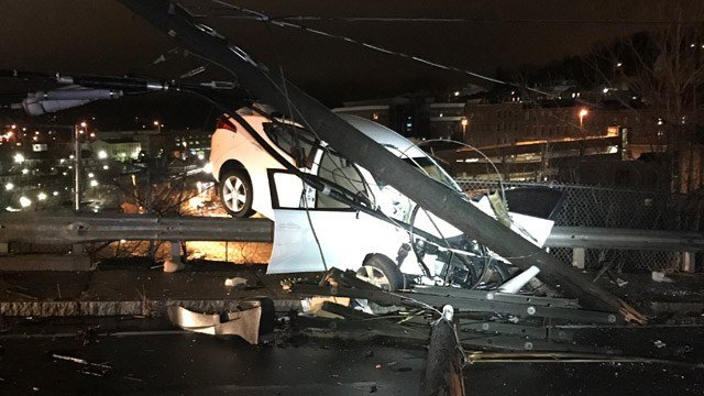 A crash following a police pursuit closed Laurel Hill in Norwich Sunday night into Monday morning. (WFSB)