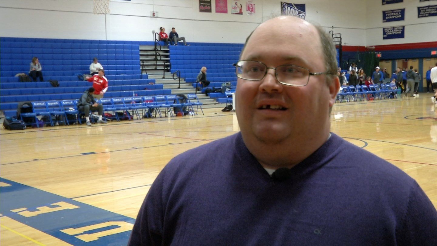 Matt Gingras, a sports manager at Plainville High School, is considered a legend. (WFSB)