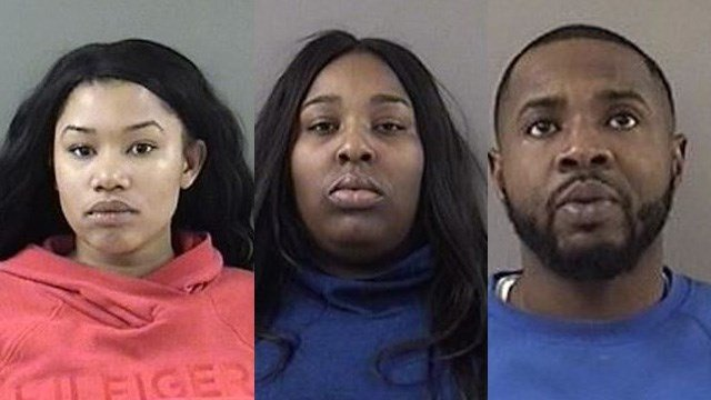 Mariah Nunn, Tyra Barber and Pierre Louis face charges for using fake credit cards to buy $4,000 worth of items from Walmart in Wallingford. (Wallingford police)
