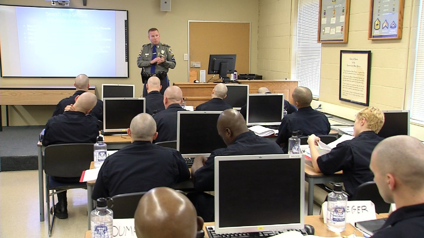 Cadets in training at the State Police Academy in Meriden. (WFSB)