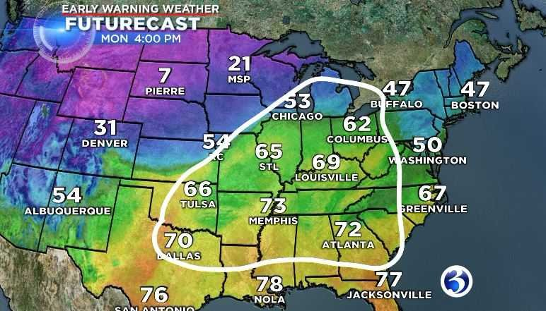 Temps will increase and snow from Winter Storm Dakota will begin to melt. (WFSB)