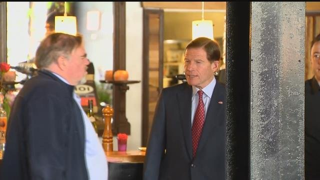 Sen. Richard Blumenthal joined a fight with restaurant workers against a Trump Administration plan to give companies complete control of tips. (WFSB)