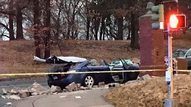 A car crashed into a pillar near Trinity College on Summit Street and New Britain Avenue. (WFSB)
