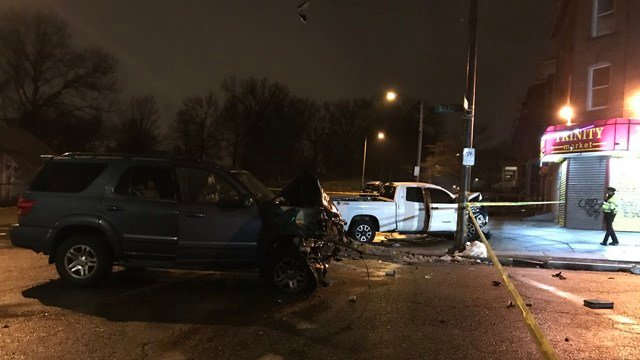 A woman was killed when a suspect in a stolen pickup struck her vehicle on Ward Street and Zion Street in Hartford on Feb 19. (Hartford police)