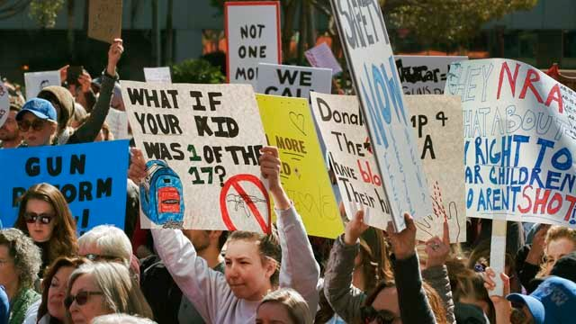 Protestors join in on a grassroots movement during a rally against gun violence in downtown Los Angeles on Monday, Feb. 19, 2018, in the wake of last week's school shooting in Parkland, Florida. (AP Photo/Richard Vogel)