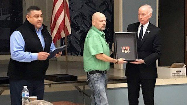 Steven Arsenault received the Good Conduct Medal on Wednesday. (WFSB)