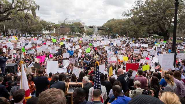 Protesters rally against gun violence on the steps of the old Florida Capitol in Tallahassee, Fla., Wednesday. (AP Photo/Mark Wallheiser)