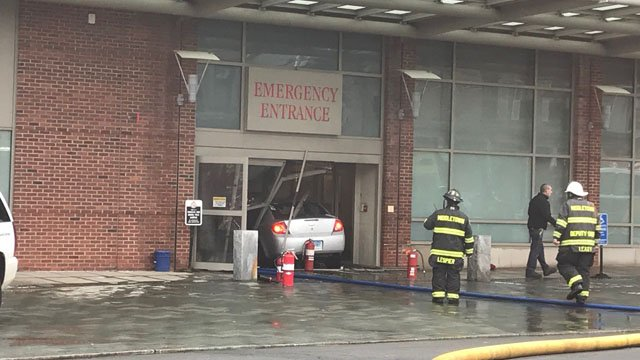 A car slammed into the ER at Middlesex Hospital. (WFSB)