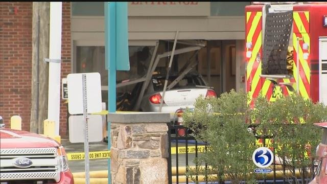 A car crashed into Middlesex Hospital Thursday morning (WFSB)