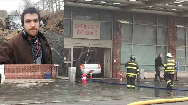 Sources say Steven Ellam drove a car into Middlesex Hospital and lit himself on fire (WFSB/Facebook)