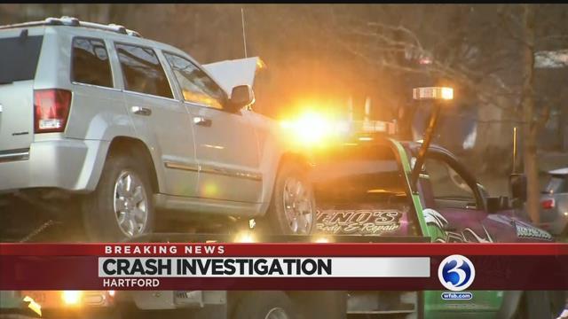 VIDEO: Stolen vehicle crash closes road on West Hartford/Hartford line