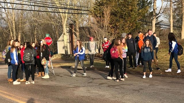 Students at the Nathan Hale-Ray School in Moodus staged a walkout against gun violence on Friday. (WFSB)