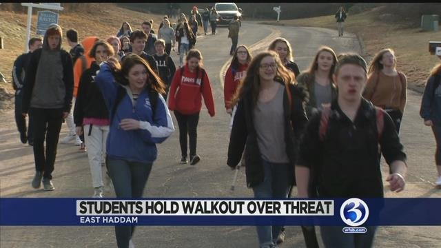 Video: Students walk out of Moodus school to bring attention to threat