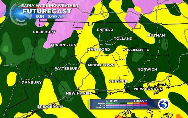Heavier rainfall is expected at times on Sunday morning (WFSB)