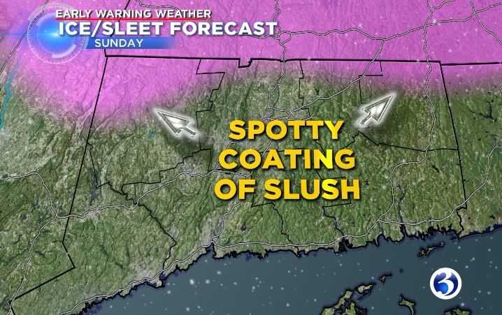 Pockets of Connecticut might see a spotty coating of slush. (WFSB)