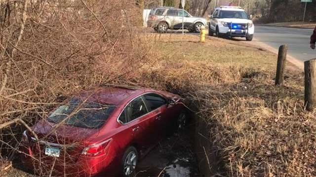 A car was found abandoned in a ditch in East Windsor (East Windsor Police Department)