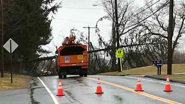 A downed pole has closed Route 168 in Suffield (WFSB)