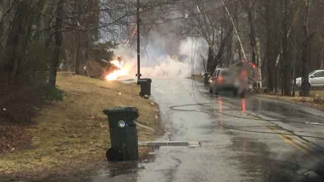 Dispatchers posted this photo of what appears to be wires or a transformer on fire (Tolland Alert)