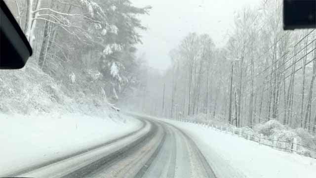 It was a snowy scene in Litchfield County on Friday (WFSB)