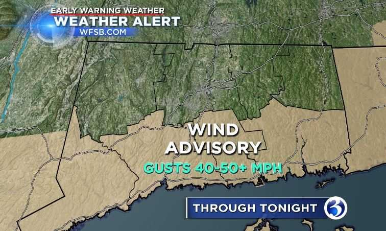 Wind and power outages are still a concern on Saturday (WFSB)