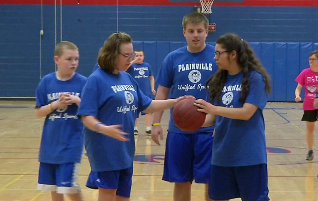 The unified basketball team at Plainville High school promotes a feeling of inclusiveness for all students, and earlier this week, the gym was packed to support them. (WFSB)