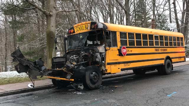 A bus carrying students caught fire in Manchester on Monday. (WFSB)