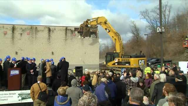 Demolition of the old Showcase Cinemas in East Windsor began on Monday (WFSB)
