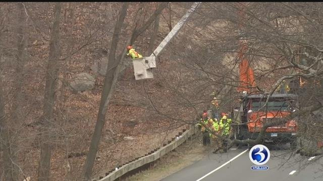 Crews were trimming trees on Monday following a deadly accident on Friday (WFSB)