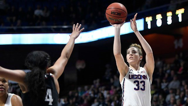 Katie Lou Samuelson makes a basket in UConn's rout of Cincinnati. (AP)