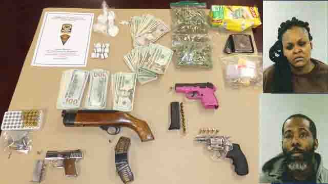 Two adults and a juvenile were arrested after drugs and guns were seized from a home (WFSB)