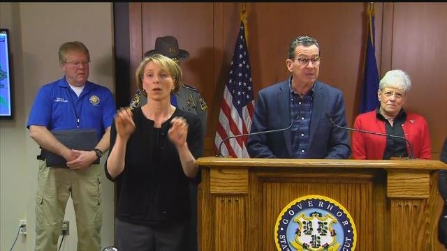 Gov. Dannel Malloy briefed the state at noon. (WFSB)
