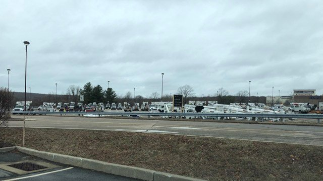 Power crews gathered at the Crystal Mall in Waterford as a staging area for Winter Storm Elsa. (iWitness)