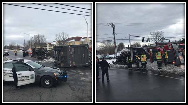 A tractor trailer rolled over on Jennings Road in Hartford Thursday (Deputy Police Chief Brian Foley)