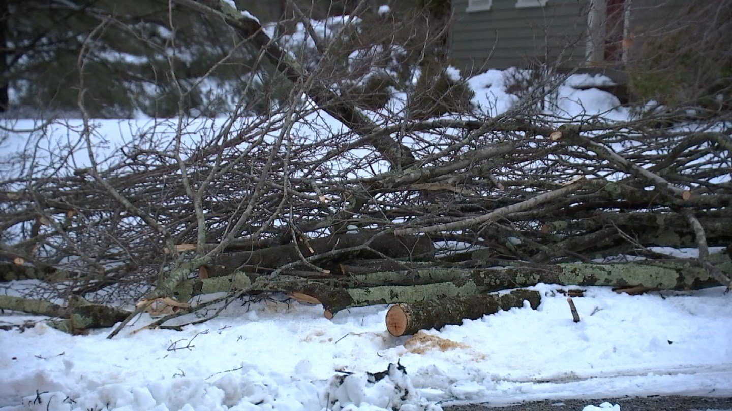 Crews in East Hampton continued to work on power restoration on Friday. (WFSB)