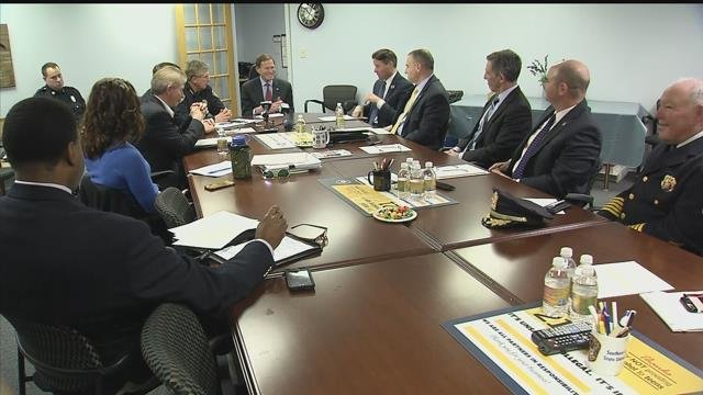 Sen. Richard Blumenthal and police chiefs from around the state held a forum about Connecticut's red flag gun law. (WFSB)