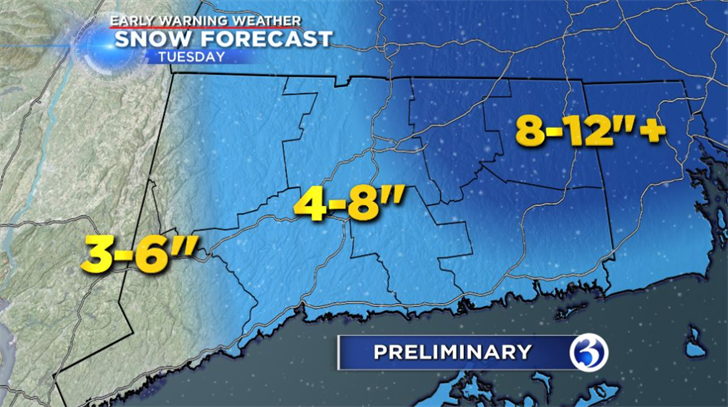Winter Storm Ferris is expected to bring upwards of 4 to 8 inches, which the most of the accumulation in Eastern Connecticut. (WFSB)