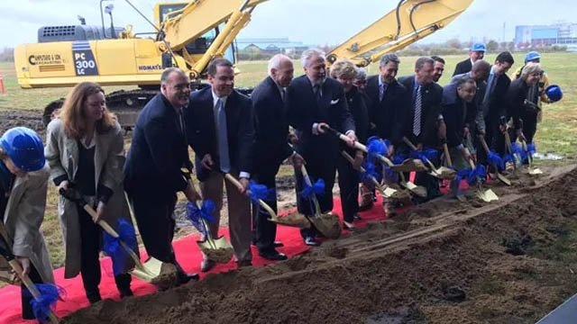 Ground was broken last fall on what was supposed to the new shops at Rentschler Field. (WFSB file)