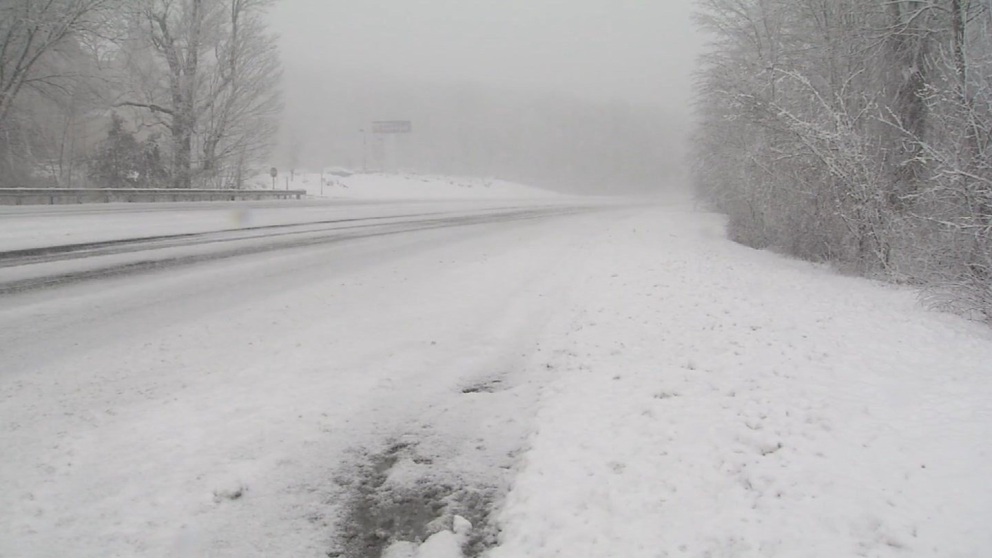 Snow-covered roads greeted travelers on Tuesday morning in Stonington. (WFSB)