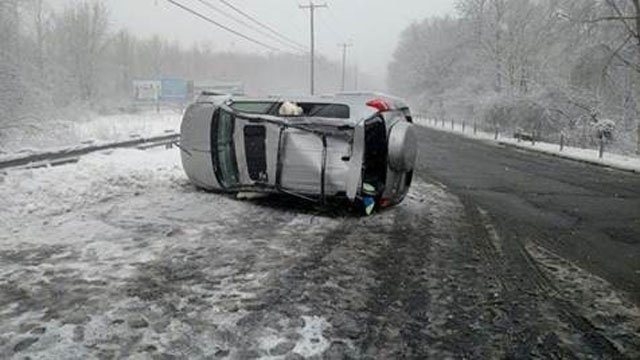 One of the hundreds of calls for service state police responded to on Tuesday.  This was in Westbrook. (State police)