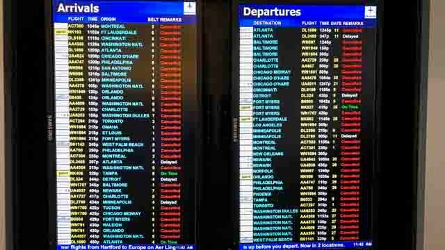 Many cancellations were reported for both arrivals and departures on Tuesday. (WFSB)