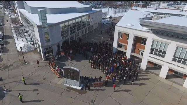 Students walked out of Hartford Magnet Trinity College Academy on Wednesday. (WFSB)