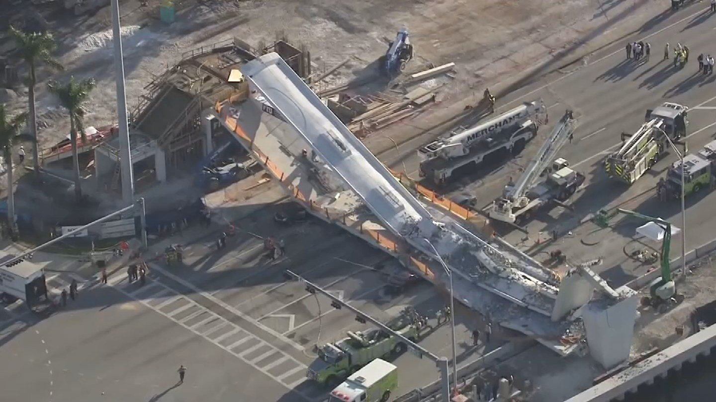 A pedestrian bridge collapsed in Sweetwater, FL on Thursday and left several people dead. (CBS)