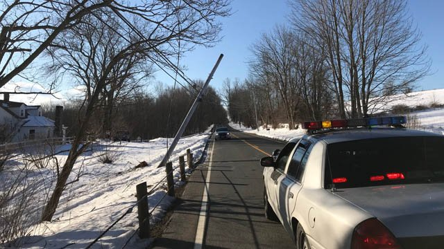 A crash brought wires down on Watertown Road in Morris. (WFSB)