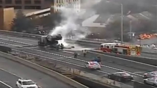 A vehicle fire on I-84 east in Hartford snarled the morning commute. (DOT)