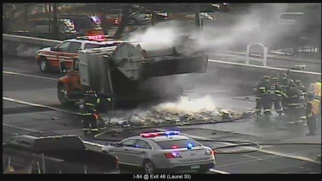 Firefighters responded to a garbage truck fire on I-84 in Hartford on Friday morning. (DOT)