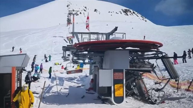 Skiers were forced to jump for their lives and others were flung off a ski lift at a Georgian ski resort after a serious malfunction. (Reuters)
