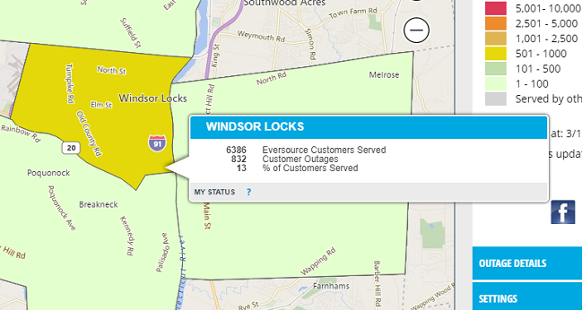 A screenshot of the Eversource outage map highlighting the Windsor Locks outages. (Eversource)